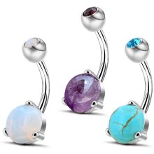 OUFER Belly Bars 316L Surgical Steel Prong Set Amethyst Turquoise Opalite Stone Navel Piercing