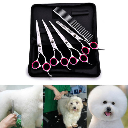 """6"""" Cat Dog Pet Hair Grooming Cutting Thinning Scissors Set Curved"""