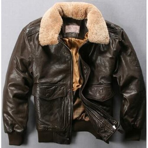 Avirex Fly Air Force Flight Jacket Fur Collar Genuine Leather Winter Bomber Jacket