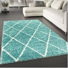 Blue Rug Teal Fluffy Shaggy Carpet Soft Thick Large Small Dimaond Carpet for Living Room Bedroom