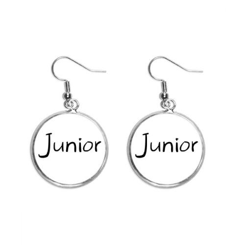 Black Single Words Junior Ear Dangle Silver Drop Earring Jewelry Woman