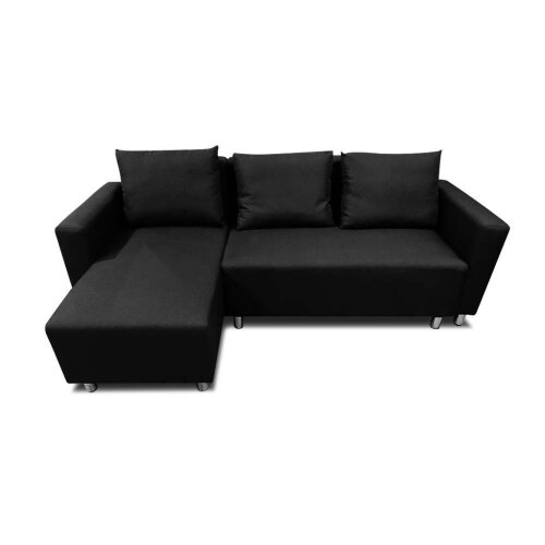 (Black Right) Corner Sofa Bed with Underneath Storage