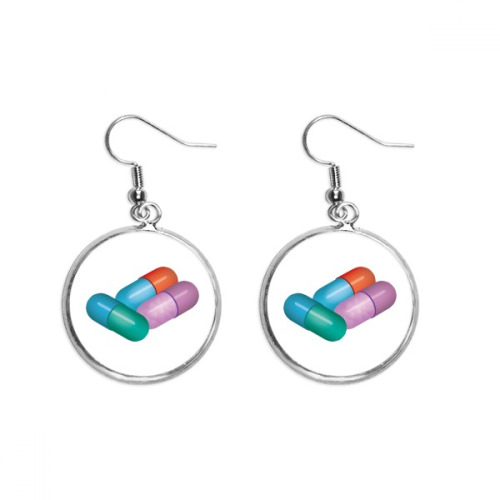 Capsule Pill Health Care Products Pattern Ear Dangle Silver Drop Earring Jewelry Woman