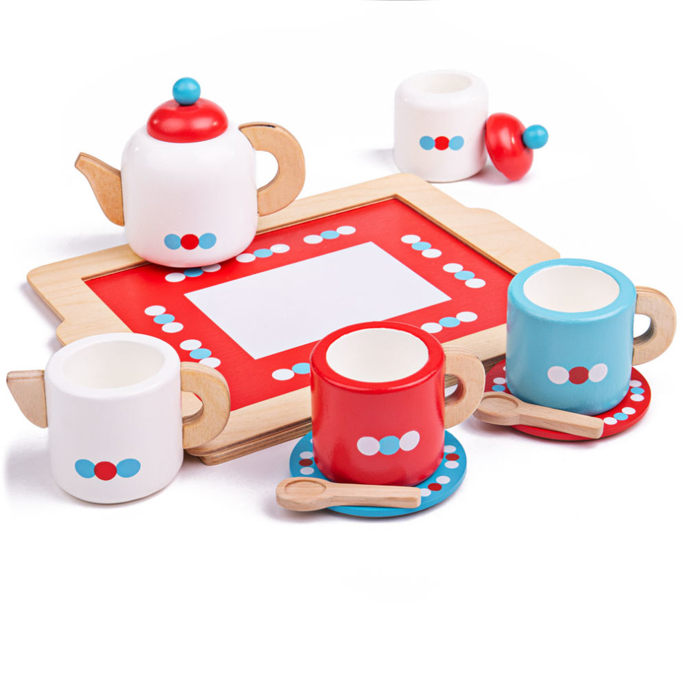 Bigjigs Toys Wooden Tea Tray Play Set Pretend Play and Role Play for Children