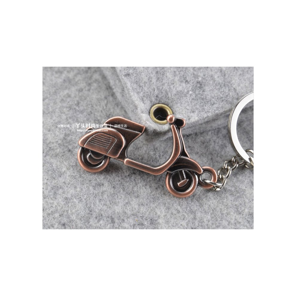 Copper Tone Metal Scooter Motorcycle Design Pendant Key Ring ME