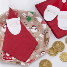 Santa and Friends Napkins with Toppers 12pk