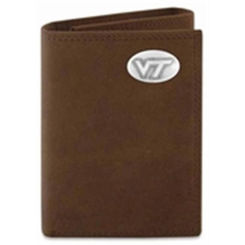 ZeppelinProducts VAT-IWT2-CRZH-LBR Virginia Tech Trifold Crazyhorse Leather Wallet