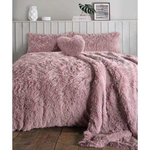 (Blush, Double) Teddy bear Fleece Fur Alaska Cuddles Duvet Cover