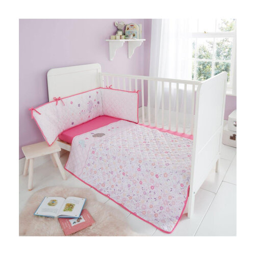 (Woodland Wishes) Kids Cot Bed Bumper Set Soft Cosy Coverlet Premium Quilted Jersey Fitted Sheet