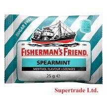 6 X Fisherman's Friend Spearmint Sugar Free Menthol Pastilles Lozenges - 25g