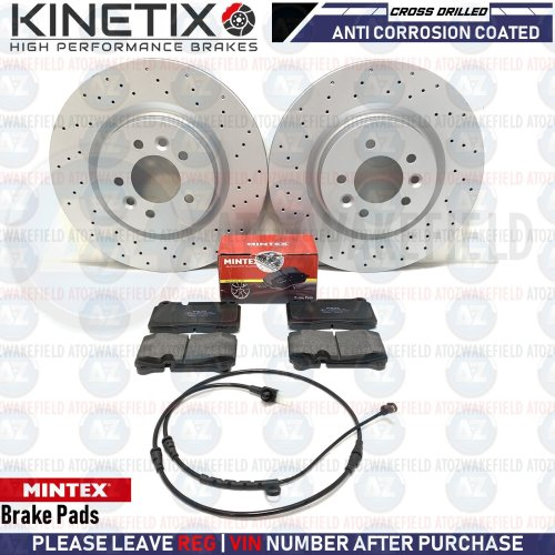 FOR RANGE ROVER SPORT 3.6 TDV8 FRONT DRILLED BRAKE DISCS MINTEX PADS WIRE 360m