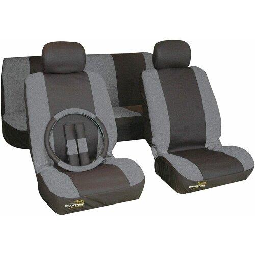 Brookstone 9 Piece Car Seat Cover Set (Grey / Black)