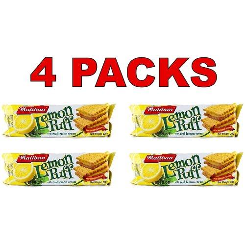 Maliban Lemon Puff Tea Biscuits 200g Per Pack 100% Genuine with Real Lemon Cream (4 Packs)