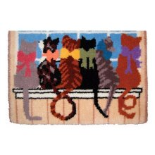 6 Love Cats Rug Latch Hooking Kit