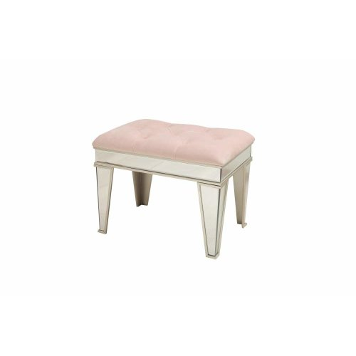 Dipamkar® Velvet Mirrored Footstool Bench Dressing Stool L60.5cm