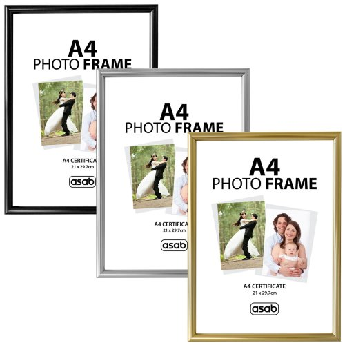 ASAB A4 Photo Picture Frame Certificate Wall & Desk Mountable Silver Black Gold