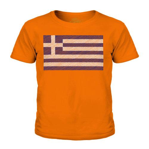 (Orange, 11-12 Years) Candymix - Greece Scribble Flag - Unisex Kid's T-Shirt