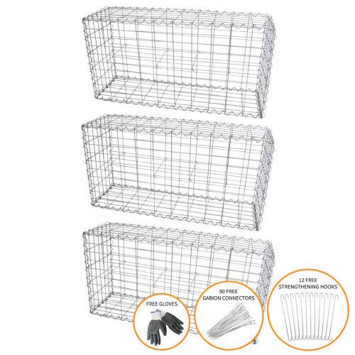 Gabion Baskets Garden Cages Wire Stone / 100 x 50 x 30cm / 3 Pack