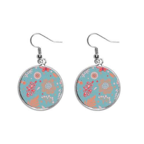 Blue Leaves Flower Plant Paint Ear Dangle Silver Drop Earring Jewelry Woman