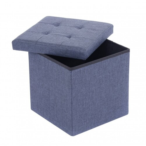 Oypla Small Blue Linen Folding Ottoman Storage Chest Box Seat Stool Bench