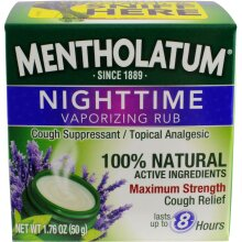 Mentholatum Nighttime Vaporizing Rub with soothing Lavender essence, 1.76 oz. (50 g) - 100% Natural Active Ingredients for Maximum Strength Cough Reli
