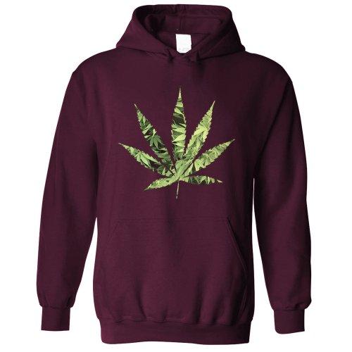 Recreational Hoodie Marijuana Leaf Cutout Cannabis Dope Logo Chill Fun Hooded