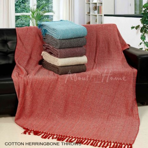 About Home Cotton Herringbone throws