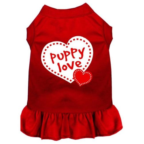 Mirage Pet 58-14 XXLRD Puppy Love Screen Print Dress, Red - 2XL - Size 18