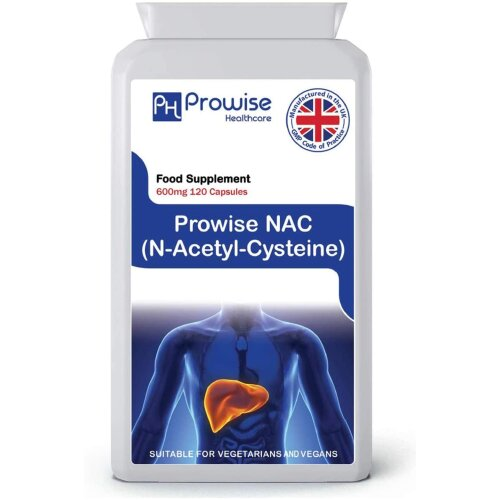 PROWISE NAC N-Acetyl- Cysteine 600mg 120 Capsules UK Made GMP Guaranteed Quality Suitable for Vegetarians and Vegans