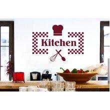 Checkered Kitchen Sign Wall Stickers Art Decals - Medium (Height 41cm x Width 57cm) Burgundy