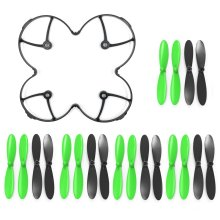 AFUNTA Propeller Protection Guard Cover for Hubson X4 H107C H107D Quadcopter and Propeller Props 5x sets Black / Green Propellers for Hubsan X4...