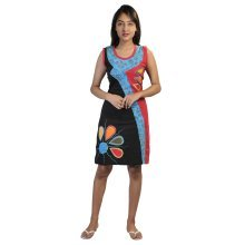 Sleeveless Multicolored Dress with Colorful Flower prints and Embroidery