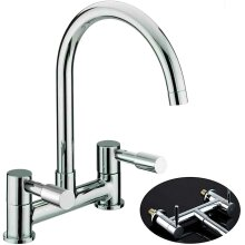 Modern Kitchen Mixer Tap Two Handles Two Holes