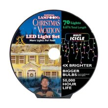 National Lampoons 9466384 6.68 ft. LED Concave 8 mm Icicle Christmas Lights  Multicolored - 70 Lights