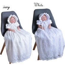 Tradition Baby Girls Lace Long Christening Gown Bonnet