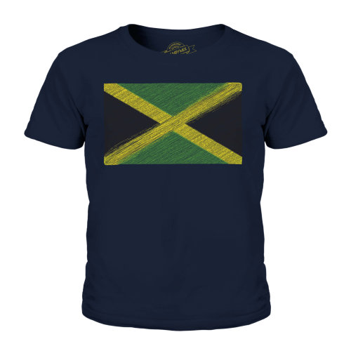 (Dark Navy, 9-10 Years) Candymix - Jamaica Scribble Flag - Unisex Kid's T-Shirt