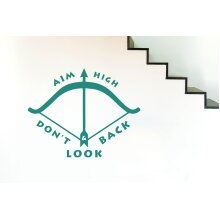 Aim High And Dont Look Back Wall Stickers Art Decals - Large (Height 57cm x Width 72cm) Aqua Green