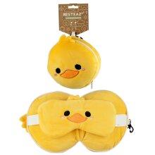 Cutiemals Duck Relaxeazzz Plush Round Travel Pillow  and  Eye Mask Set