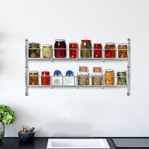 2 Tier Spice Herb Jar Rack Holder For Kitchen Door Cupboard Storage
