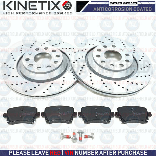 FOR SEAT LEON CUPRA R REAR KINETIX CROSS DRILLED BRAKE DISCS PLATINUM PADS 310mm