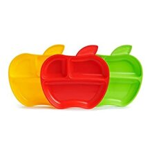 Munchkin Lil' Apple Divided Toddler Plates Pack of 3
