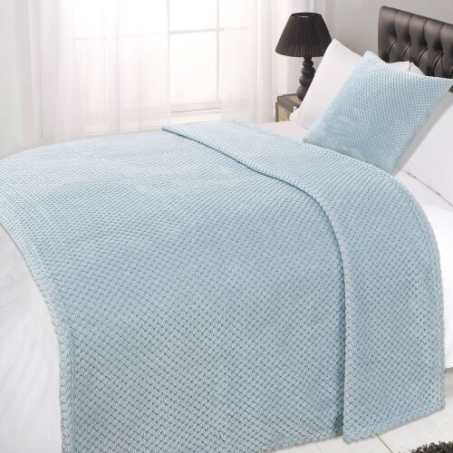 (Duck Egg Blue, Double - 150 x 200cm) Dreamscene Luxurious Large Waffle Honeycomb Blanket Throw