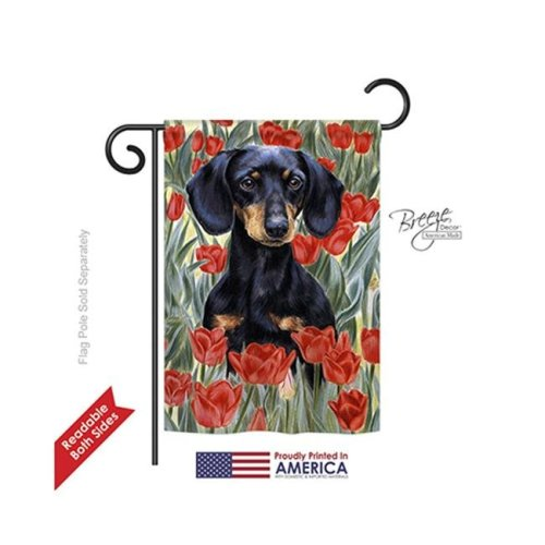Breeze Decor 60080 Pets Dachsund In Tulips 2-Sided Impression Garden Flag - 13 x 18.5 in.