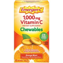 Emergen-C 500mg Vitamin C Chewables, Orange Blast, 40 Chewable Tablets - 1000mg serving