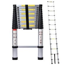 5M/16.4ft Aluminum Extension Folding Telescopic Ladder Straight Telescoping Ladders Capacity 150kg/330lb with Certificate EN 131