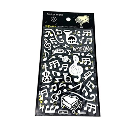 PartyErasers Music Themed Glow in the Dark Luminous Stickers - Strings & Brass