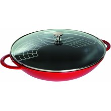 STAUB Wok Round, Cherry, 37 cm (Includes Lid and Steaming Rack)
