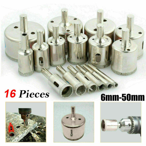 16Pcs Diamond Holesaw Drill Bit Set Tile Porcelain Glass Marble