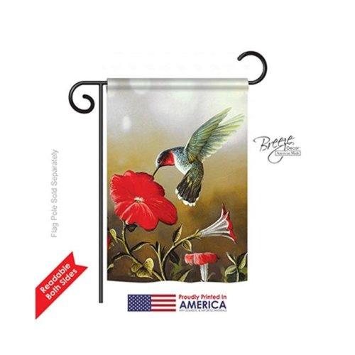 Breeze Decor 55050 Birds Ruby Hummingbird 2-Sided Impression Garden Flag - 13 x 18.5 in.