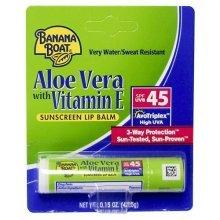 Banana Boat Aloe Vera with Vitamin E Sunscreen Lip Balm, SPF 45 .15 oz (4.25 g)